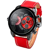 OULM Ragazzi e ragazze orologio sportivo in acciaio cinturino in pelle analogico al quarzo dual time zone, colore: rosso