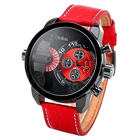 Panegy – Montre Garçon Fille - Quartz Analogique - Bracelet en Cuir – Sport Fashion – Deux Cadran Etanche - Rouge