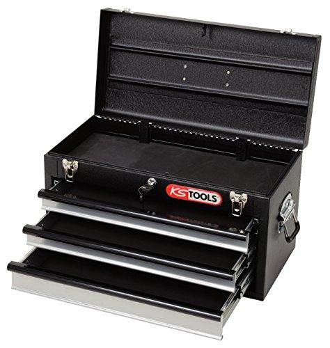 KS Tools 801.0003 Werkzeugtruhe mit 3 Schubladen-schwarz, L508xH255xB303mm Schubladen Tool Box