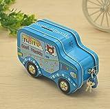 Sun Glower Geld Banken Bunte Cartoon Auto Piggy Bank Creative Zinn Aufbewahrungsbox Candy Jar (blau)