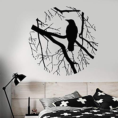 lyclff Vogel Zweig Crow Gotik Kreis Vinyl Wandtattoo Wohnkultur Wohnzimmer Kunst Removable...