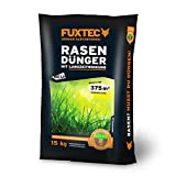 FUXTEC Rasendünger mit Langzeitwirkung 15 kg,besonders für Golfanlagen,Sportplätze,Zierrasen und Parks geeignet, für kräftige und dichte Grasnarben, vermindert die Moos- und Unkrautbildung, empfohlen für noch gesünderen Rasen, 15 kg für 375 m²
