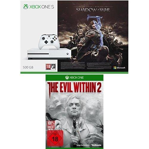 Xbox One S 500GB Konsole + Mittelerde: Schatten des Krieges + The Evil Within 2