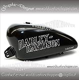 2 ADESIVI DECAL STICKERS GRAPHIC HARLEY DAVIDSON DA SERBATOIO MOTO CUSTOM.(SELEZIONARE DAL MENU COLORI SE DA 8 O 12 LITRI) (BIANCO 12 LITRI)