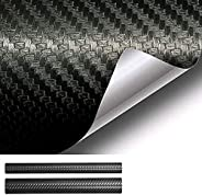 Tobeape 6D Black Carbon Fiber Vinyl Wrap Set, Sheet Roll for Automotive Use, Including Two Rolls of Self Adhes
