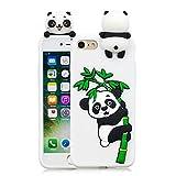 HUDDU Weihnachten Motiv Panda Handyhülle iPhone 8 Silikon Hülle 3D Karikatur Muster Schutz Handyschale Weiche Silikon TPU Tasche Case Cover Ultra Dünn Schutzhülle Apple iPhone 7/8 - Weiß