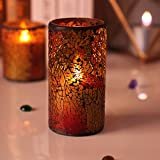 DFL 3.25* 6 Inch Wine Red Mosaic Glass With Flameless Led Candle With Timer,Work With 2 C Batteries