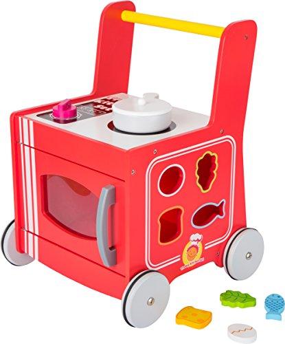 small foot 10609 Lauflernwagen und Spielküche in Einem, mit Steckspiel und Gummibereifung Spielzeug - Holz Wagen Küche