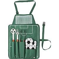 Ulitimate del fútbol delantal y 4 pc utensilios para barbacoa