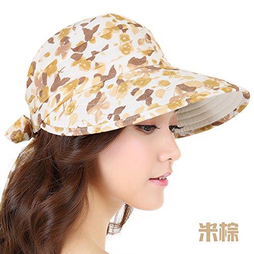 Sunshade Hat Hat Female Air Summer Sun Cap Outdoor Beach Hat,F (54-62Cm) Can Be Adjusted,Brown (Rice Kostüm Kinder)