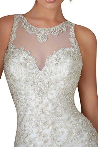 Luxurioes Brautkleid Rundkragen Spitze und Tüll in Weiß - 3