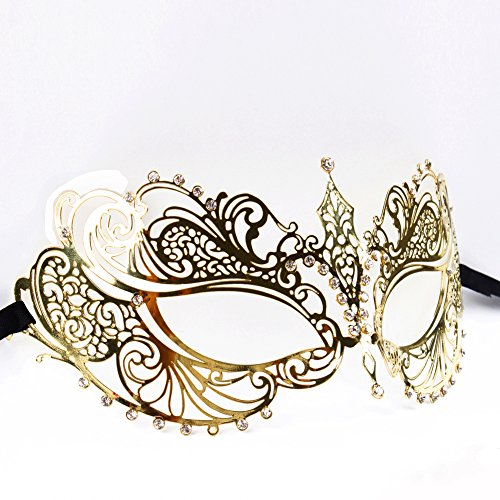 MITE Frauen Sexy Appeal Maskerade Prom Maske Cosplay Holloween Kugeln Metall Laser Cut Maske Schwarz / Weiß Strass (Gold)