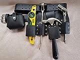 Ponteggio in pelle Tools Belt–nero spessore del Toolset 4pcs regolabile Cintura–2singolo chiave Frogs–grande metro a nastro Holder
