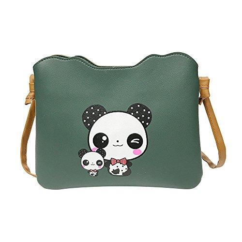 TIFIY Damen Mädchen Beiläufig Mode Unregelmäßige Grenze Drucken Schulter Tasche Handtasche Tote Umhängetasche (Panda-Armeegrün) (Drucken Schulter Tasche Leder)