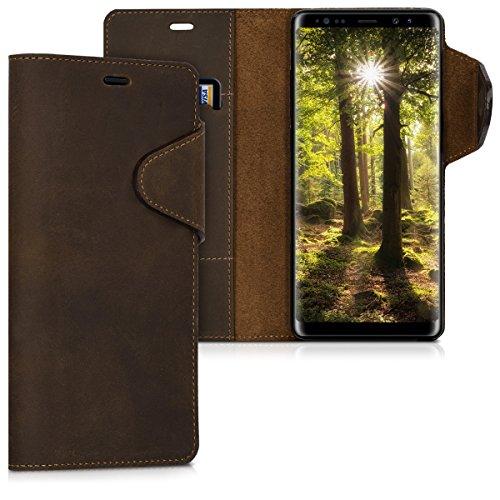 kalibri-Hlle-fr-Samsung-Galaxy-Note-8-Echtleder-Wallet-Case-Schutzhlle-mit-Fach-und-Stnder-in-Braun