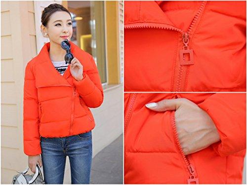Xiang Ru Blouson Femme Manteau Court Veste Chaufante Automne Hiver Parka Manche Longue Mince Orange