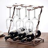 Porta bottiglie da vino WSSF Creativo Z-tipo di vino rosso cremagliera europeo retrò ferro uva espositore vino moda calice appeso scaffali di stoccaggio bicchieri di vino titolare, 33 * 19.5 * 36 cm