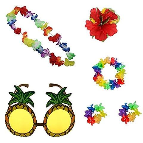 Homgaty Hawaiianische Ananas Sonnenbrille und 4Flower Leis Girlande Halskette, Kopfband und Armbänder Kleid Kostüm Party (Hawaiianische Ananas)