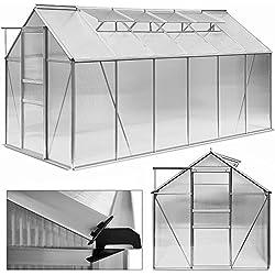 11,73M³ Serre De Jardin Aluminium 380x190cm - 4 Fenêtres de toit