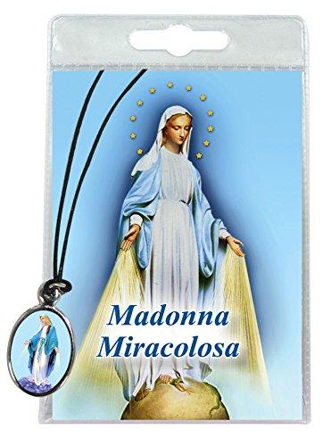 Ferrari & Arrighetti Medalla Virgen Milagrosa con cordón y oración en Italiano