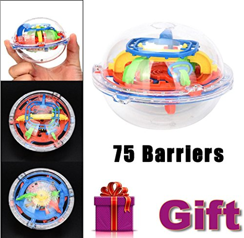 (Covermason Mini Ball Maze Intellect 3d Puzzle Spielzeug Balance Barrier Magic Labyrinth Sphärisch, Farbe zufällig (75 Barrieren))