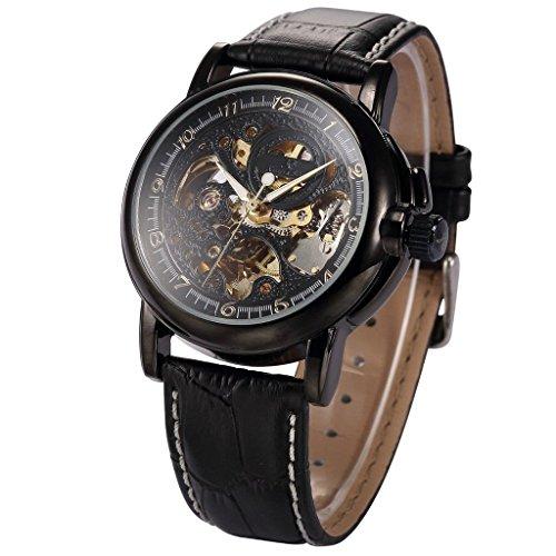 Modo meccanico automatico uomini lusso nero in pelle scheletro analogico sport orologi