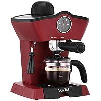 VonShef 4 Bar Espresso Coffee Machine Maker, Red 280ml, Milk Frothing Wand, Temperature Gauge, Removable Drip Tray