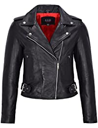 Smart Range Ladies Real Leather Brando Biker Style Fitted Jacket Short Length Black With Red Lining