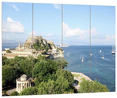 Pixxprint Griechische Küstenlandschaft, MDF-Holzbild im Bretterlook Format: 80x60cm, Wanddekoration