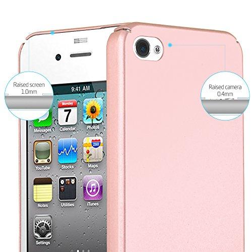 Cadorabo - Hard Cover Slim Case passend für >              Apple iPhone 4 / 4S              < in Matt Metallic-Optik - Schutz-hülle Hard Case Schale Schutzhülle Bumper in METALL-ROT METALL-ROSÉ-GOLD