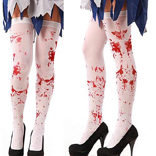 Ideapark 2 Pares de Sangre de Halloween Calcetines Altos Medias de la rodilla sangrienta Calcetines de Vestir de poliéster Para Halloween Disfraz de Cosplay (C)