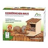 Gardigo Mangeoire pour écureuil, Toit ouvrant; maison, bar, distributeur de nourriture en bois pour plusieurs animaux; facile à remplir, nettoyer