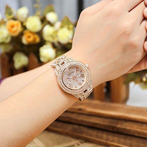 JSDDE Uhren,Luxus Elegangt Damen Armbanduhr mit Strass Glitzer Dial Damenuhr Metall-Band Ladies Dress Analog Quarzuhr (Rosegold) - 3