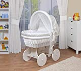 WALDIN Baby wicker cradle,Moses basket,44 models available,white painted stand/wheels,textile colour white