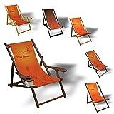 Printalio Wunschtext - Orange Butterfly - Liegestuhl Bedruckt Balkon Garten Sonnenliege Relax Holz Terrasse | mit Armlehne, Dunkelbraun