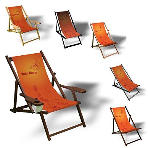Printalio - Wunschtext - Orange Butterfly - Liegestuhl Bedruckt Balkon Garten Sonnenliege Relax Holz Terrasse | mit Armlehne, Dunkelbraun