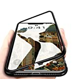 Coverswale Metal Frame Magnetic Glass Back Cover for Apple iPhone X (Black)