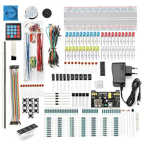 DEYUE 398 Arduino Electronic Fun Kit Bundle | Elektronische Komponenten Arduino Starter Kit | Raspberry Pi 3 Starter Set | Stromversorgungsmodul, Netzteil, Überbrückungsdraht, Etc.