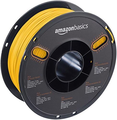 Amazonbasics - filamento in pla per stampanti 3d, 1,75mm, giallo, bobina da 1 kg