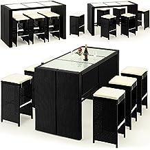 Juego de mesas y sillas de jardín (13 piezas, 185 cm, cristal, polirratán, con cojines), color crema y negro