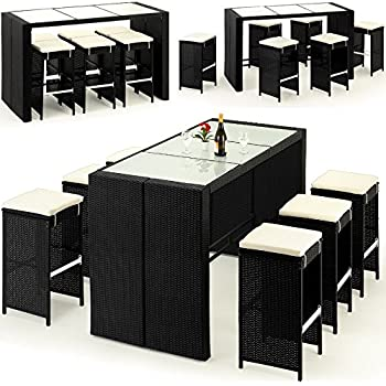 polyrattan barset 16tlg tisch 6 barhocker rattan bar. Black Bedroom Furniture Sets. Home Design Ideas