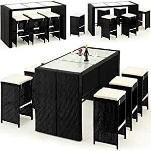 polyrattan barset 16tlg tisch 6 barhocker rattan bar lounge set poolbar rattanbar. Black Bedroom Furniture Sets. Home Design Ideas