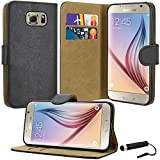 Samsung Galaxy S6 Case, Premium Quality Leather Wallet Case Cover Comes with Galaxy S6 Screen Protector & Stylus Pen / Galaxy S6 Case