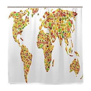 JSTEL Cortina de ducha con diseño de mapa del mundo con frutas y verduras, resistente al moho y resistente al agua, tela de poliéster de 182,88 x 182,88 cm para el hogar, extra larga, para baño, decorativa, cortinas de baño con 12 ganchos