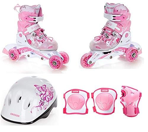 Raven 2in1 Kinder Inline Skates Triskates Princess 26-29 (16cm-18cm) + Schützer Neve M + Helm Silky S (Kinder Ravens Helm)