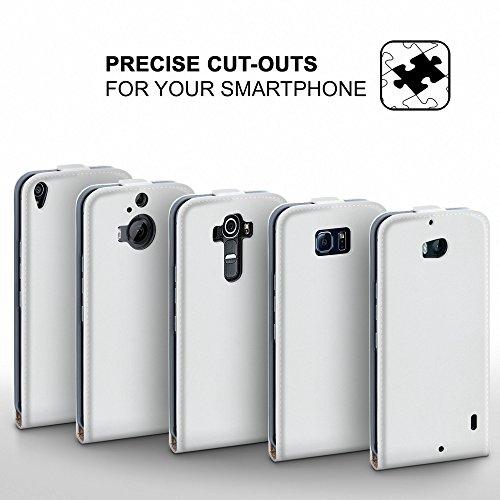 iPhone 4S Hülle Schwarz [OneFlow 360° Klapp-Hülle] Etui thin Handytasche Dünn Handyhülle für iPhone 4/4S Case Flip Cover Schutzhülle Kunst-Leder Tasche PEARL-WHITE