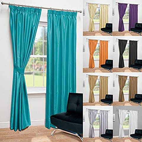 Luxury Faux Silk Fully Lined Pencil Pleat Curtains With Matching Tie Backs (Teal, 117cm Width x 183cm Drop (46