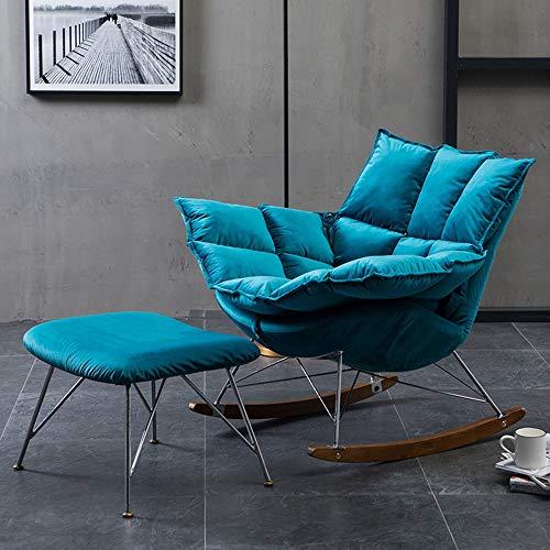 Ryyland-Home Sofa Einfacher Gepolsterte Schaukelstuhl W/Ottoman for Wohnen, Schlafzimmer Kleines Apartment Lounge Sessel (Color : Blue, Size : Free Size)