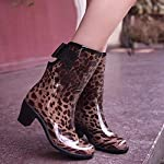 FEELHH Warm Rain Boots,Lightweight On Comfy Fashion High Heel With Bowknot Non Slip For Women High Heel Galoshes