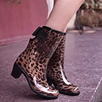 FEELHH Warm Rain Boots,Lightweight On Comfy Fashion High Heel With Bowknot Non Slip For Women High Heel Galoshes